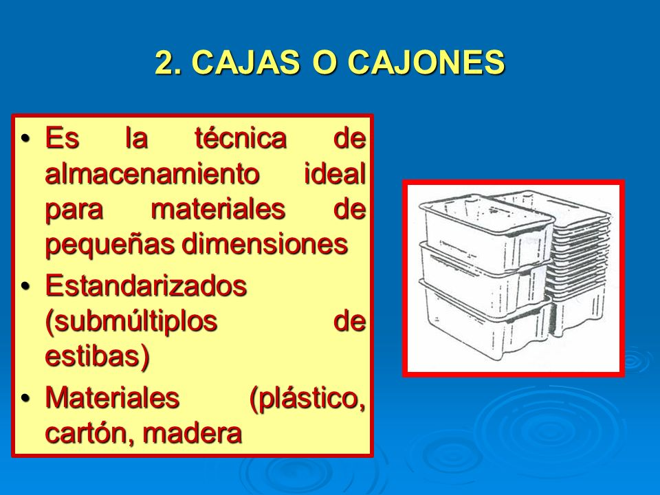 2. CAJAS O CAJONESEs la técnica de almacenamiento ideal para materiales de pequeñas dimensiones.