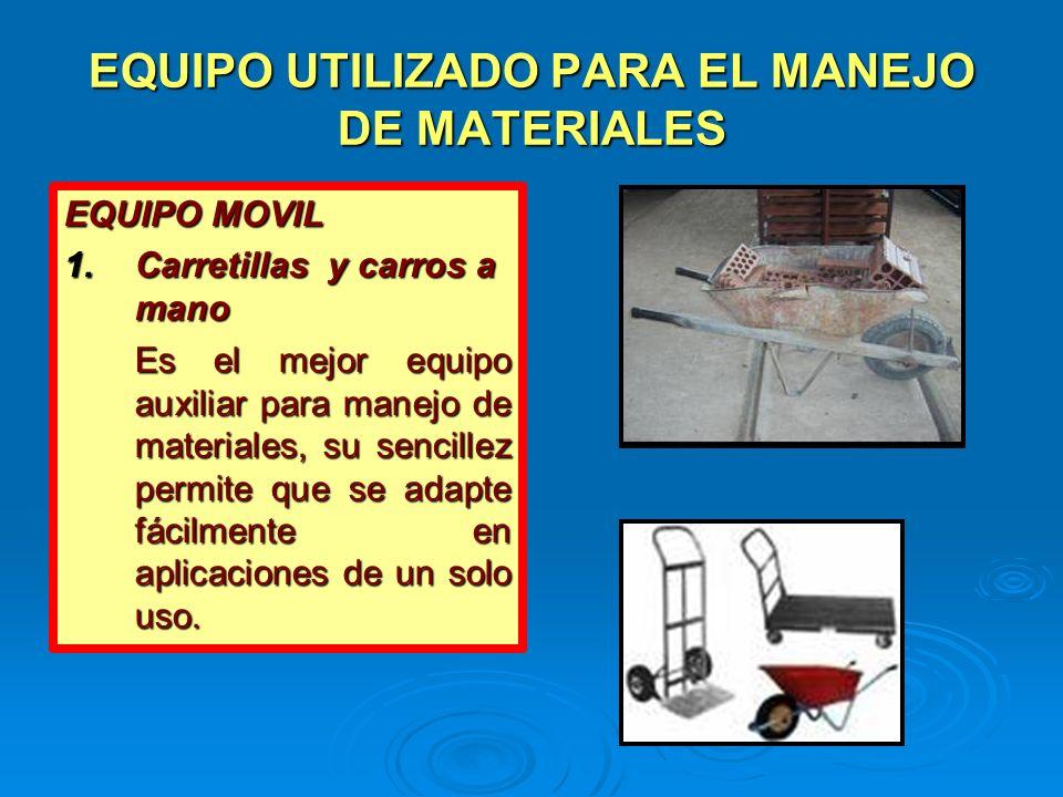 EQUIPO UTILIZADO PARA EL MANEJO DE MATERIALES
