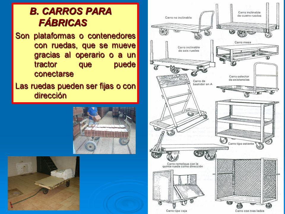 B. CARROS PARA FÁBRICAS Son plataformas o contenedores con ruedas, que se mueve gracias al operario o a un tractor que puede conectarse.