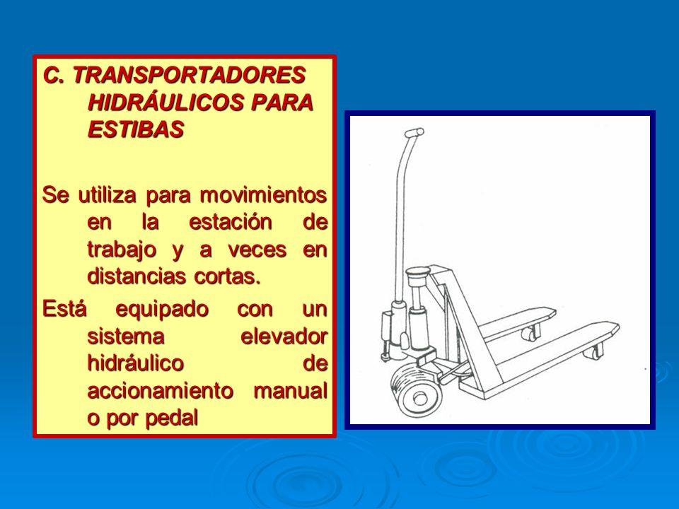 C. TRANSPORTADORES HIDRÁULICOS PARA ESTIBAS