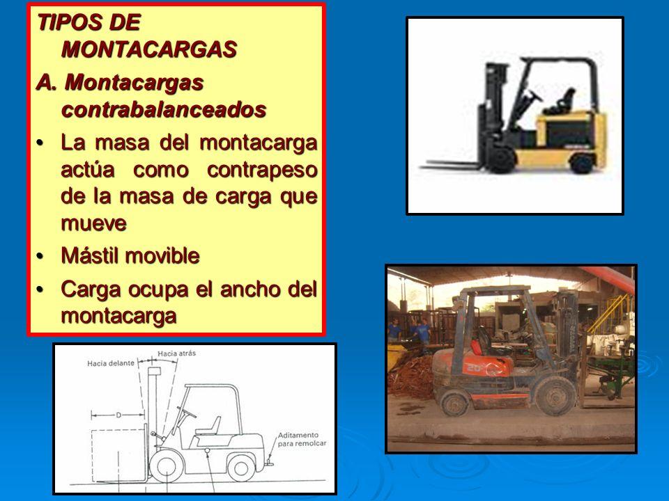 TIPOS DE MONTACARGAS A. Montacargas contrabalanceados. La masa del montacarga actúa como contrapeso de la masa de carga que mueve.