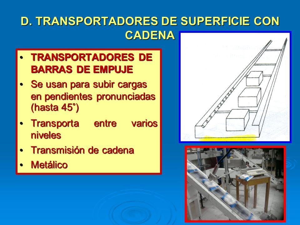 D. TRANSPORTADORES DE SUPERFICIE CON CADENA