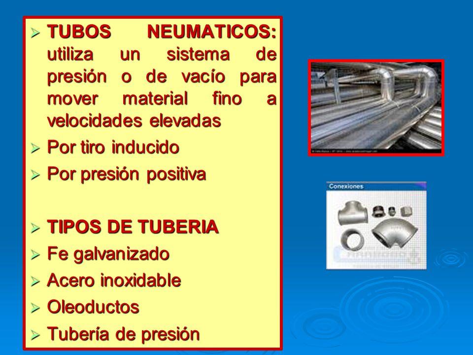 TUBOS NEUMATICOS: utiliza un sistema de presión o de vacío para mover material fino a velocidades elevadas