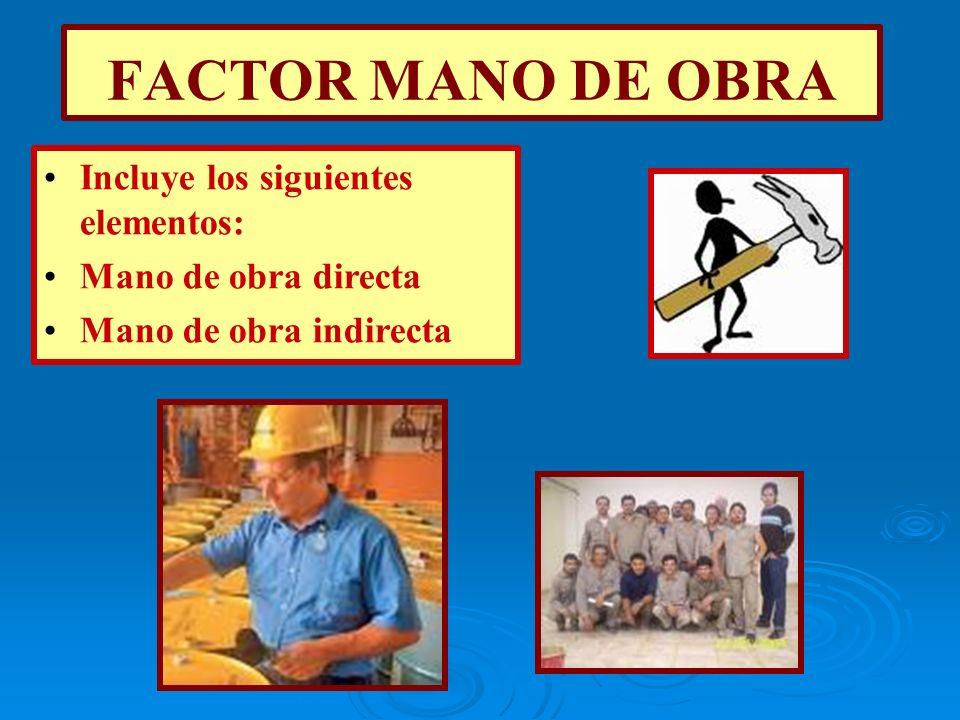 FACTOR MANO DE OBRA Incluye los siguientes elementos:
