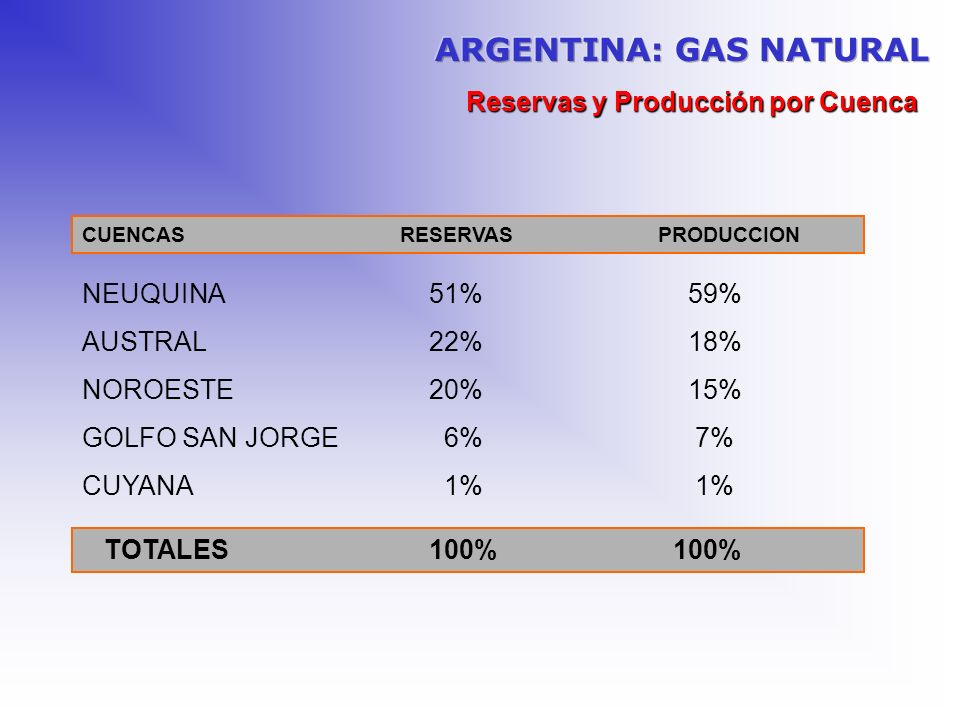 ARGENTINA: GAS NATURAL