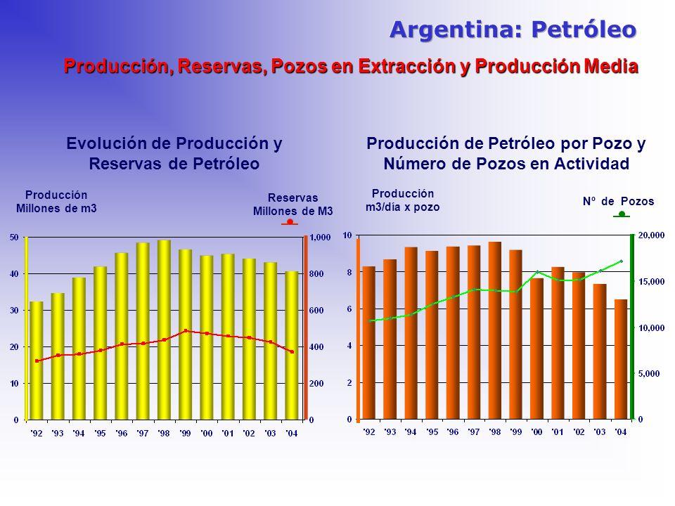 Argentina: PetróleoProducción, Reservas, Pozos en Extracción y Producción Media. Evolución de Producción y Reservas de Petróleo.