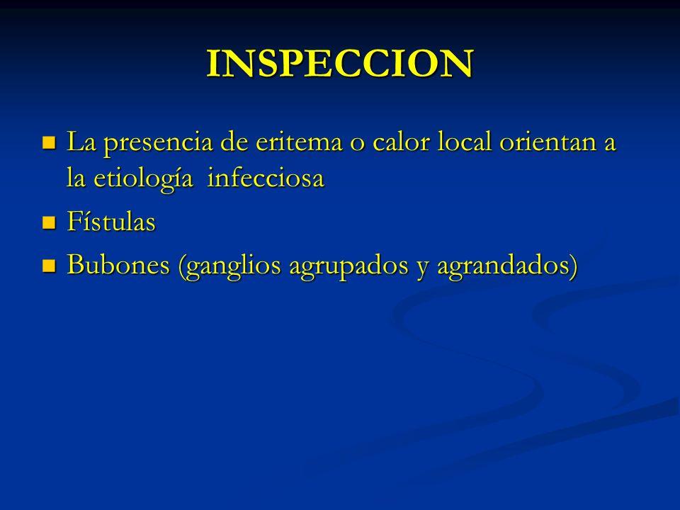 INSPECCION La presencia de eritema o calor local orientan a la etiología infecciosa.