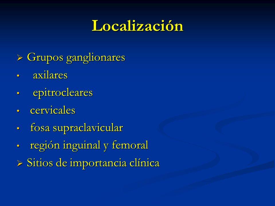 Localización Grupos ganglionares axilares epitrocleares cervicales