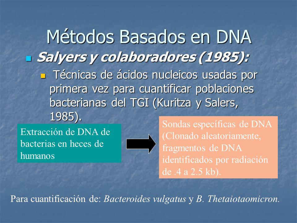 Métodos Basados en DNA Salyers y colaboradores (1985):