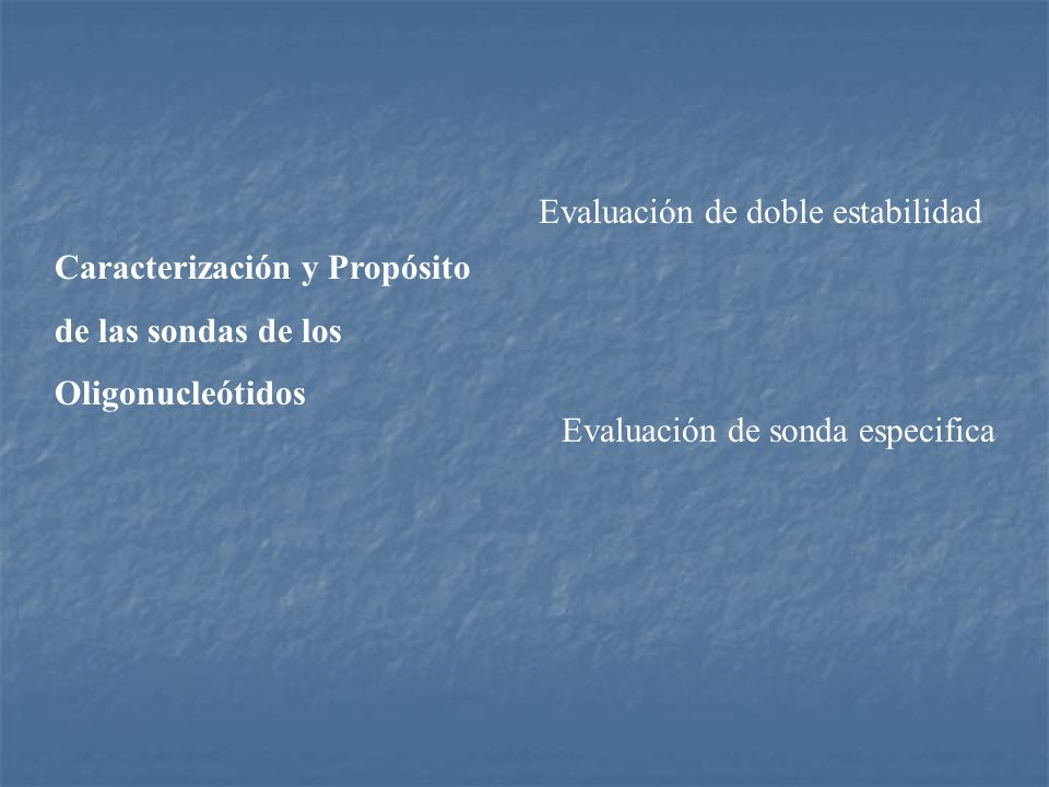 Caracterización y Propósito de las sondas de los Oligonucleótidos