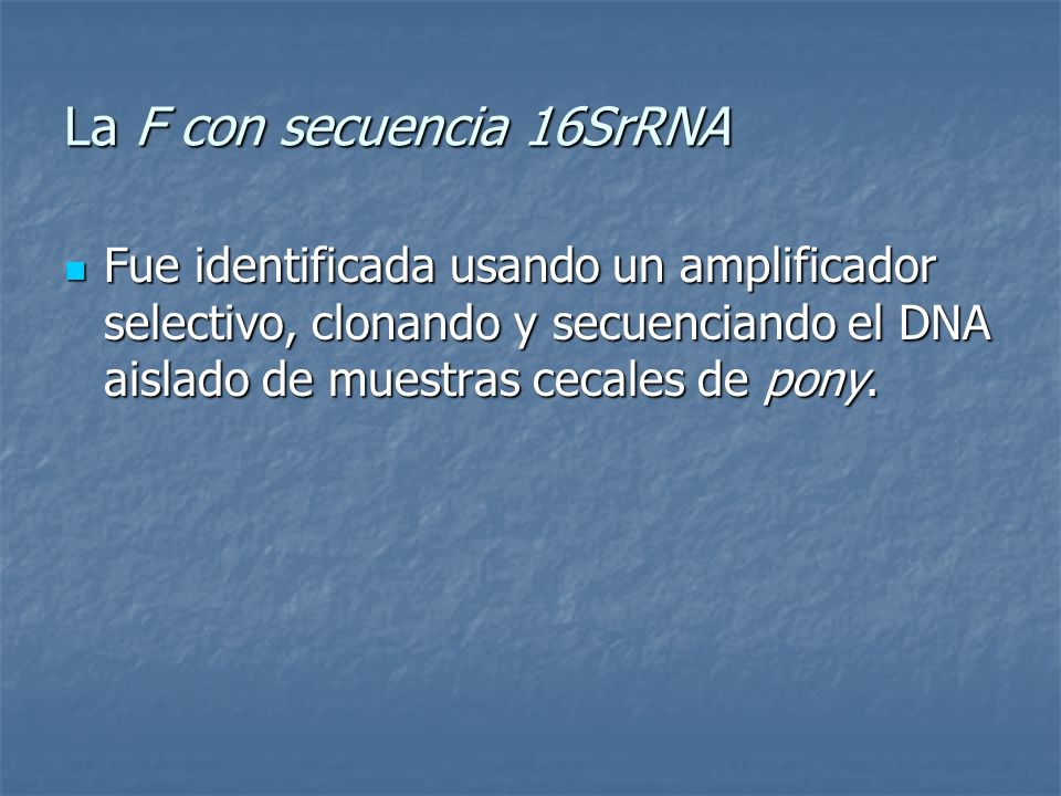 La F con secuencia 16SrRNA