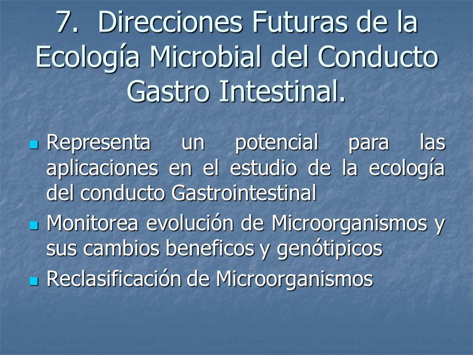 7. Direcciones Futuras de la Ecología Microbial del Conducto Gastro Intestinal.