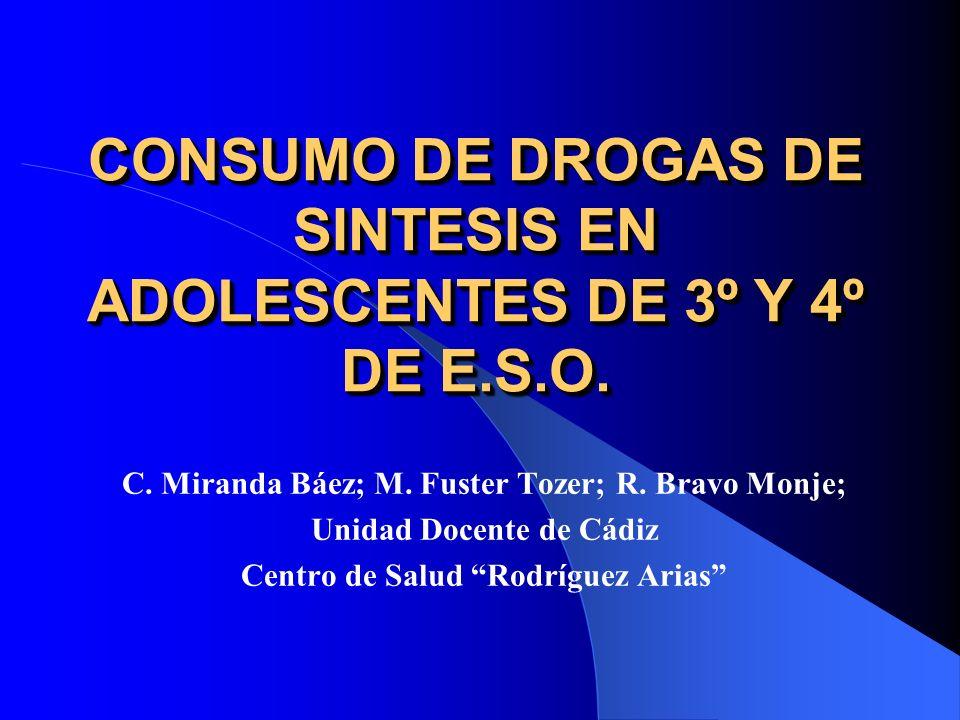 CONSUMO DE DROGAS DE SINTESIS EN ADOLESCENTES DE 3º Y 4º DE E.S.O.
