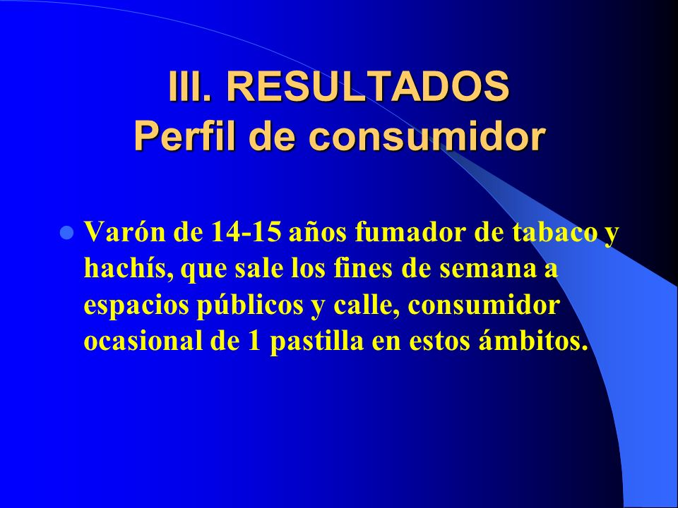 III. RESULTADOS Perfil de consumidor