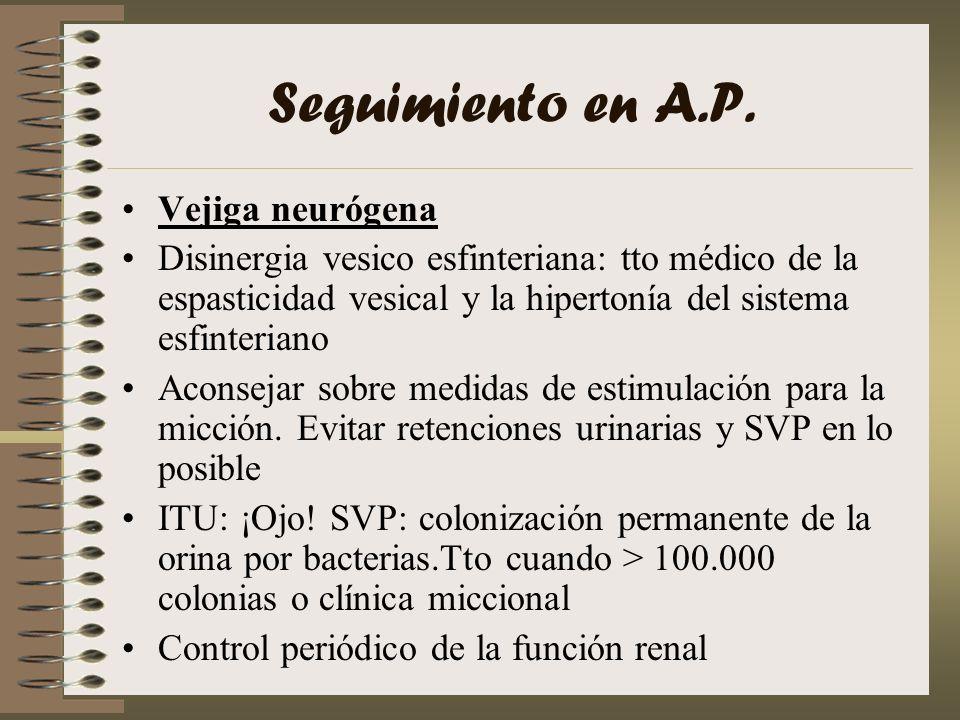 Seguimiento en A.P. Vejiga neurógena