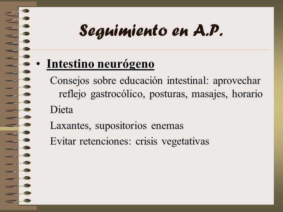 Seguimiento en A.P. Intestino neurógeno