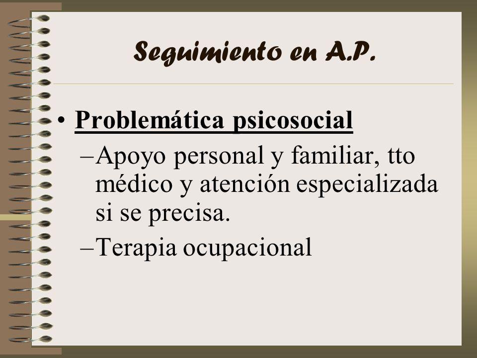 Seguimiento en A.P. Problemática psicosocial