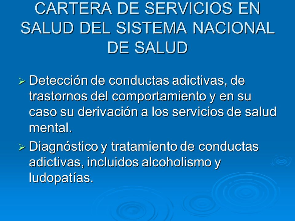 CARTERA DE SERVICIOS EN SALUD DEL SISTEMA NACIONAL DE SALUD