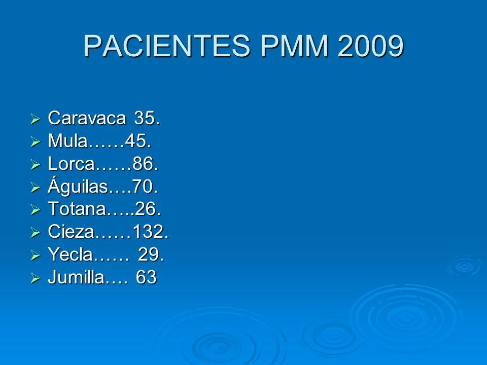 PACIENTES PMM 2009 Caravaca 35. Mula……45. Lorca……86. Águilas….70.