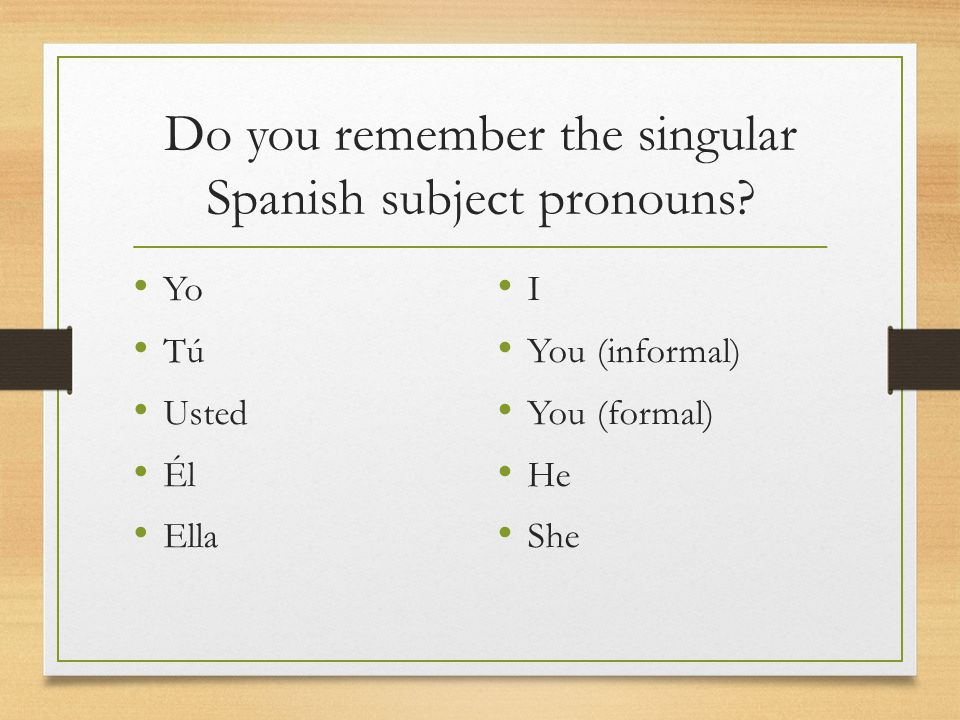 Do you remember the singular Spanish subject pronouns
