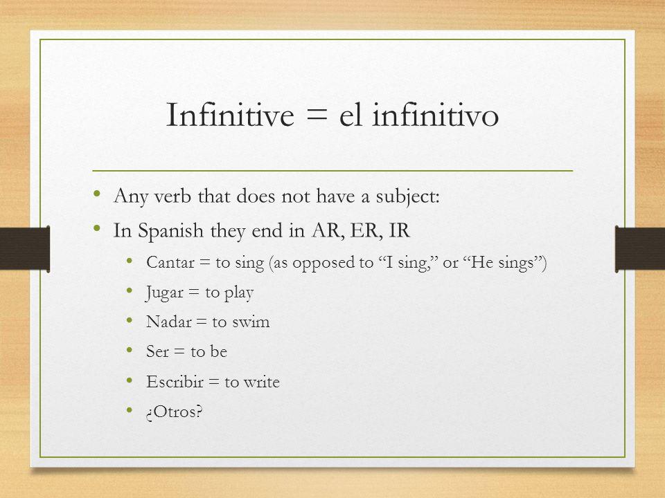 Infinitive = el infinitivo