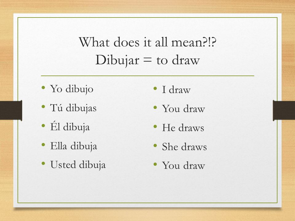 What does it all mean ! Dibujar = to draw