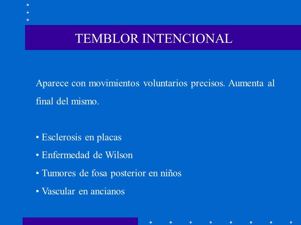 TEMBLOR INTENCIONAL Aparece con movimientos voluntarios precisos. Aumenta al. final del mismo. • Esclerosis en placas.