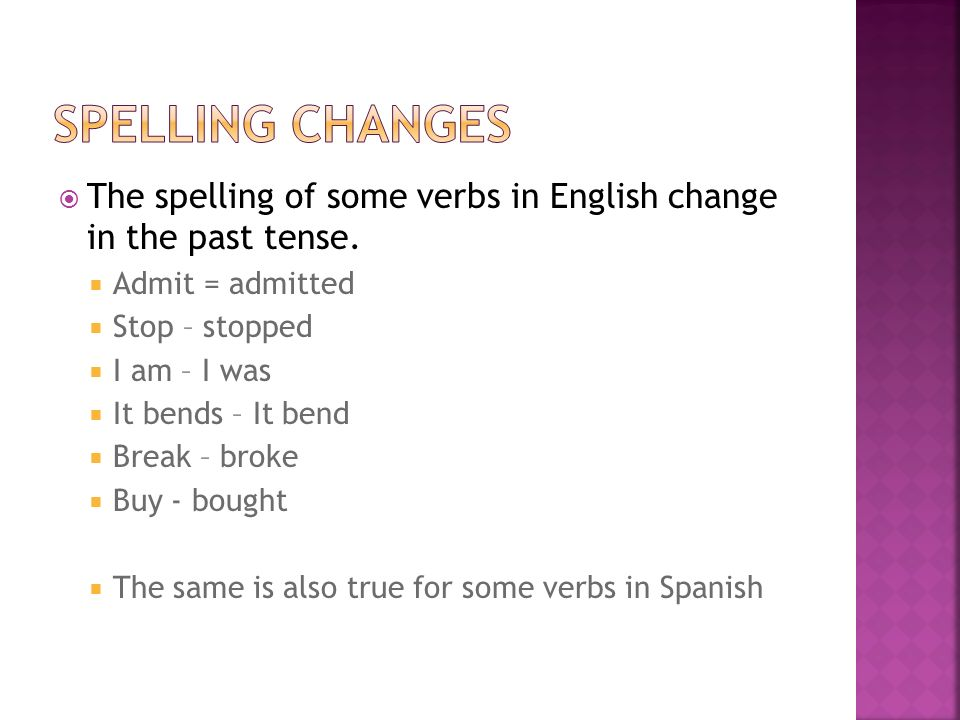 Spelling changesThe spelling of some verbs in English change in the past tense. Admit = admitted. Stop – stopped.
