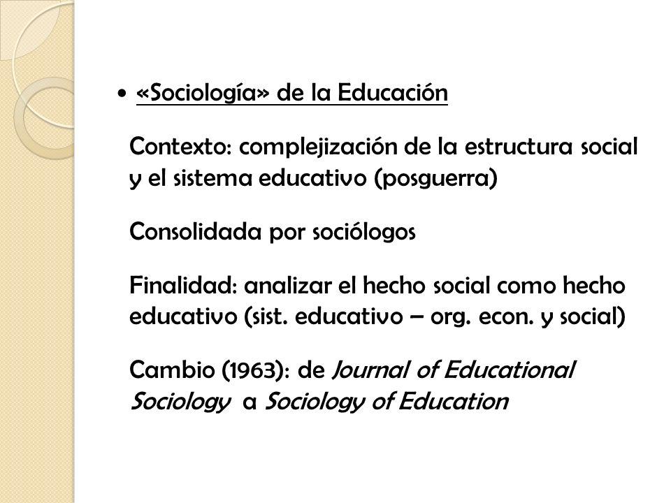 «Sociología» de la Educación