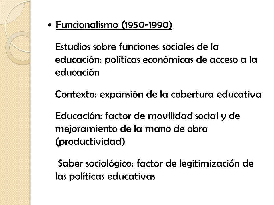 Funcionalismo (1950-1990)Estudios sobre funciones sociales de la educación: políticas económicas de acceso a la educación.