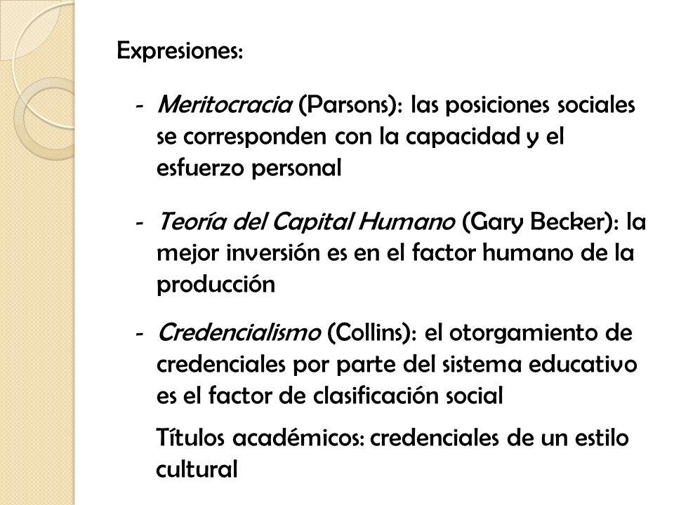 Expresiones: Meritocracia (Parsons): las posiciones sociales se corresponden con la capacidad y el esfuerzo personal.