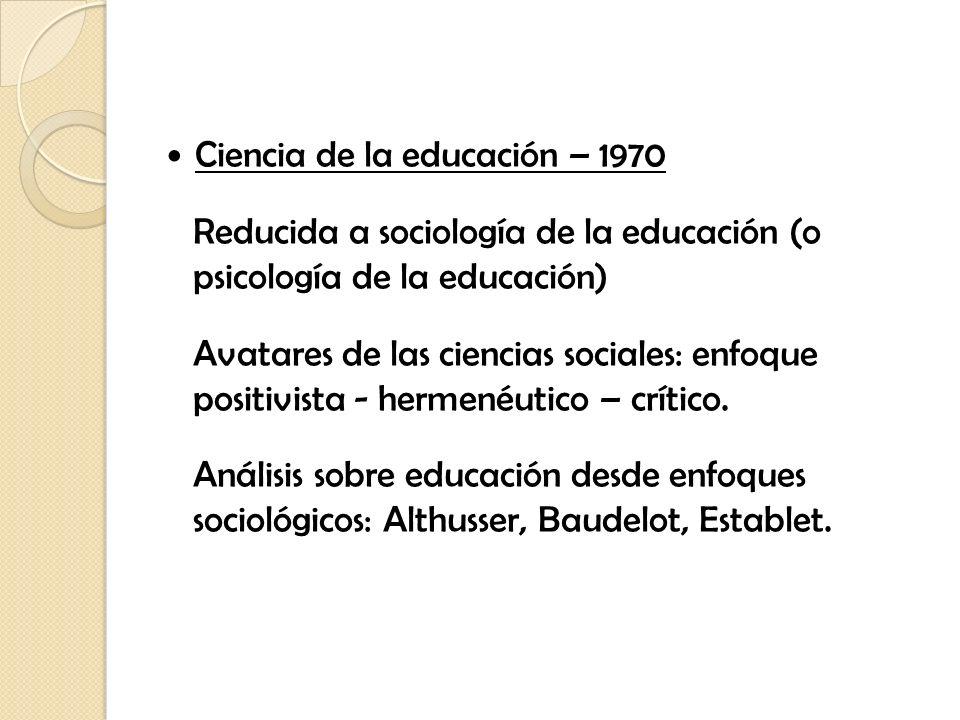 Ciencia de la educación – 1970
