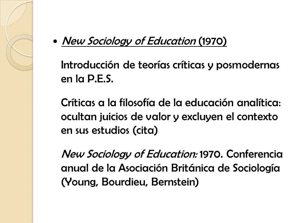 New Sociology of Education (1970)