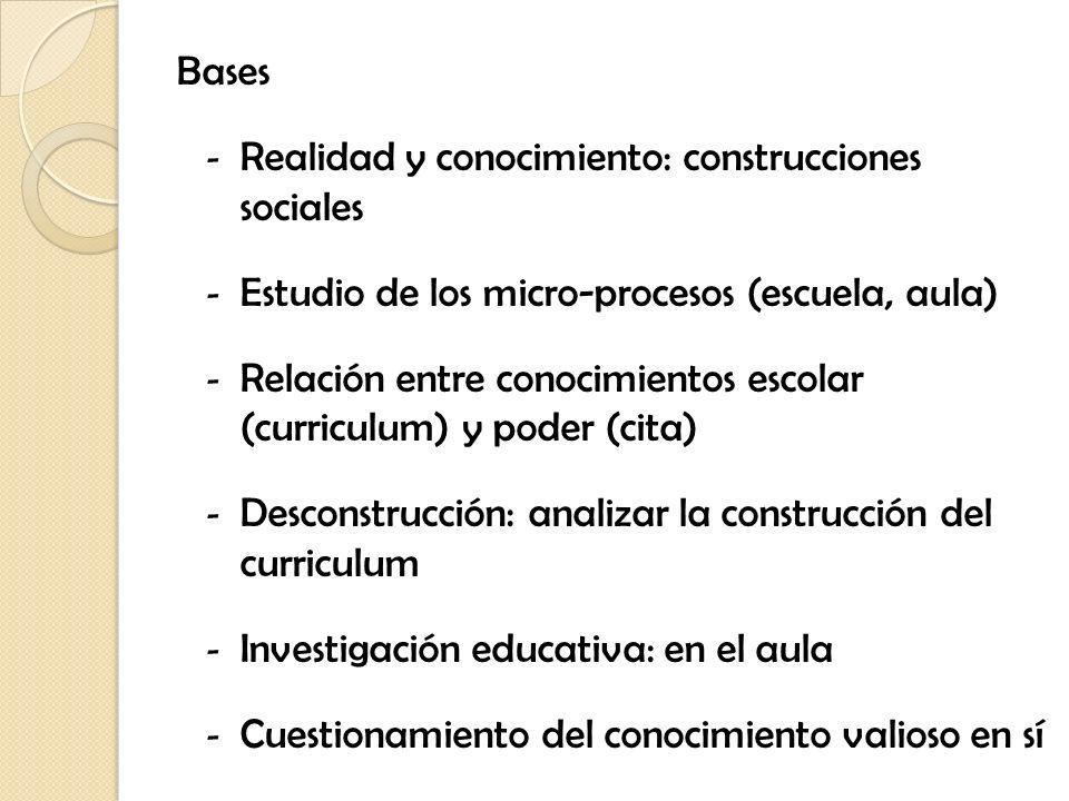 Bases Realidad y conocimiento: construcciones sociales. Estudio de los micro-procesos (escuela, aula)