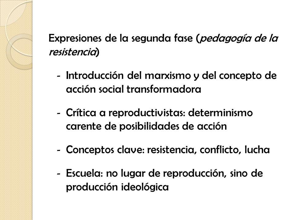 Expresiones de la segunda fase (pedagogía de la resistencia)