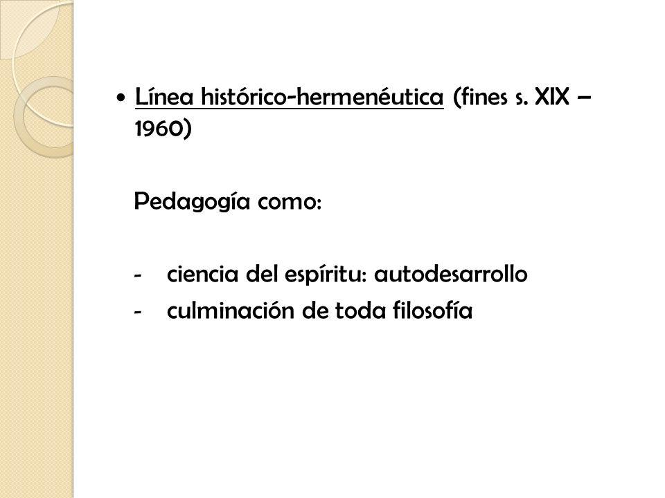 Línea histórico-hermenéutica (fines s. XIX – 1960)