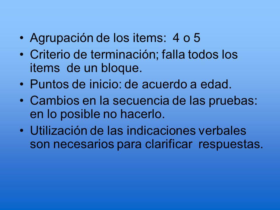 Agrupación de los items: 4 o 5
