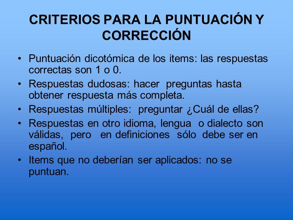 CRITERIOS PARA LA PUNTUACIÓN Y CORRECCIÓN
