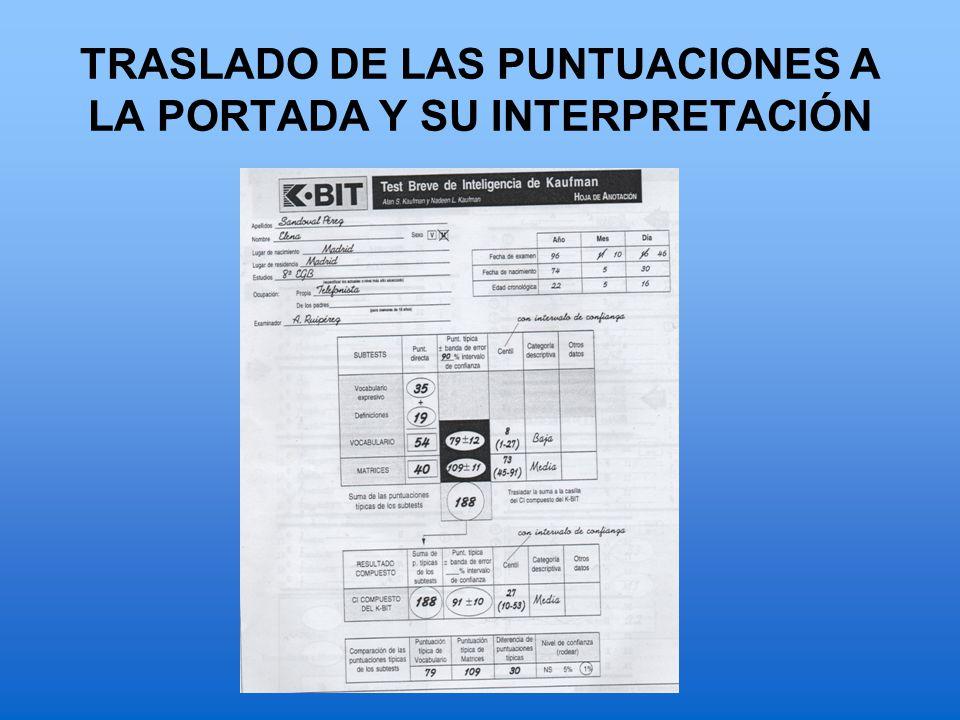 TRASLADO DE LAS PUNTUACIONES A LA PORTADA Y SU INTERPRETACIÓN