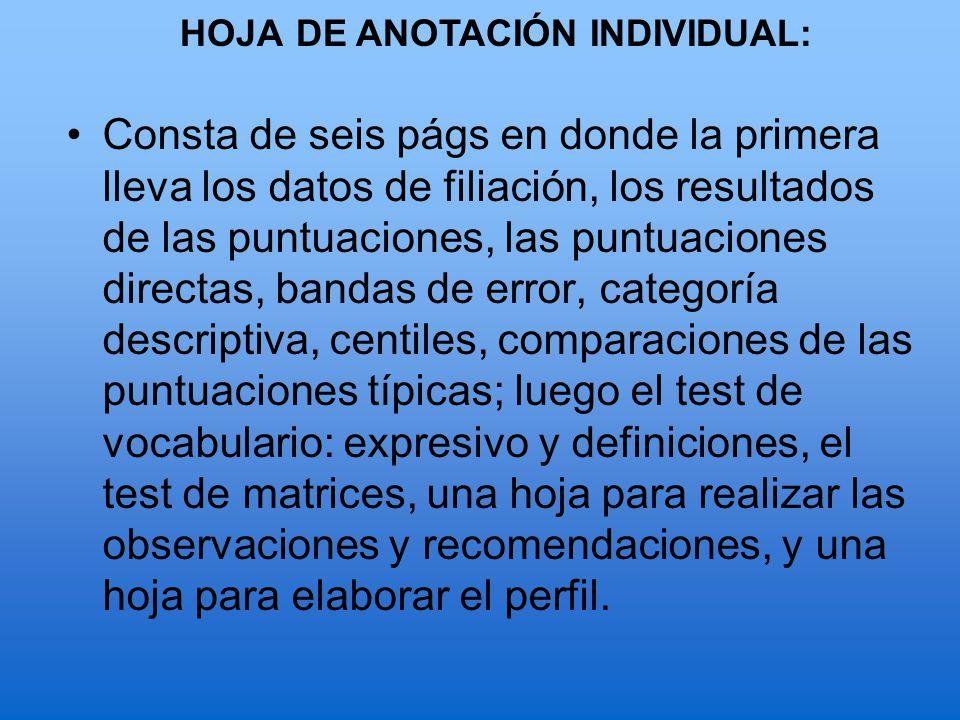 HOJA DE ANOTACIÓN INDIVIDUAL:
