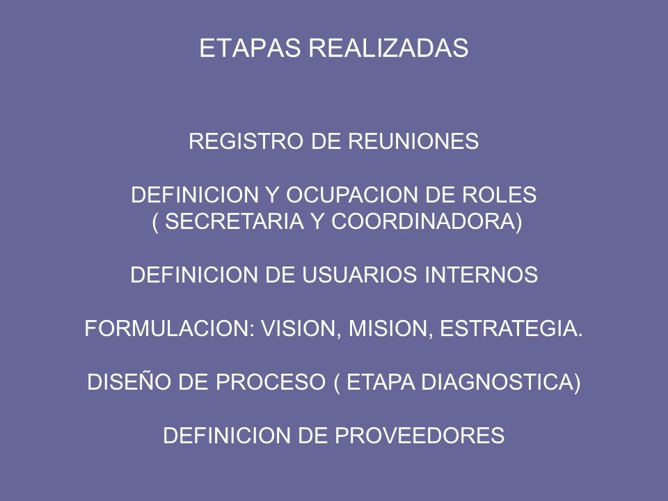 ETAPAS REALIZADAS