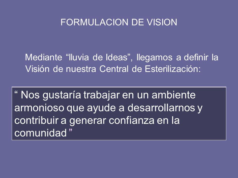 FORMULACION DE VISION Mediante lluvia de Ideas , llegamos a definir la Visión de nuestra Central de Esterilización: