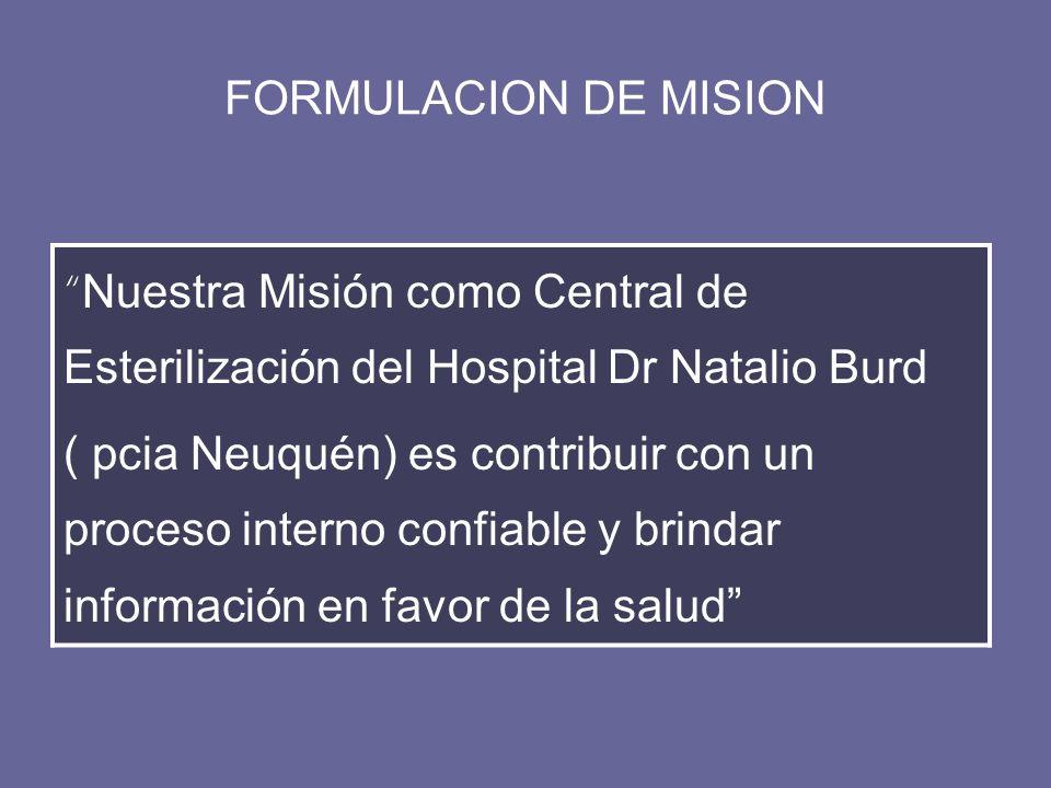 FORMULACION DE MISION Nuestra Misión como Central de Esterilización del Hospital Dr Natalio Burd.