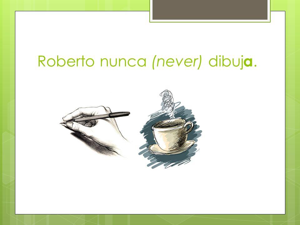 Roberto nunca (never) dibuja.