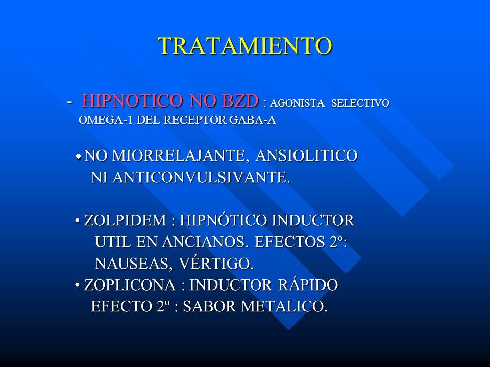 TRATAMIENTO HIPNOTICO NO BZD : AGONISTA SELECTIVO