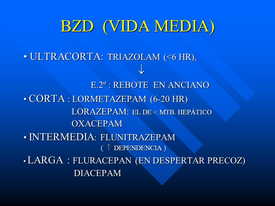 BZD (VIDA MEDIA) • ULTRACORTA: TRIAZOLAM (<6 HR), 