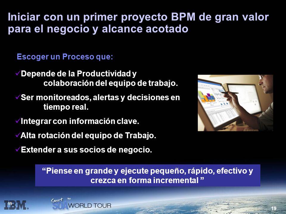Iniciar con un primer proyecto BPM de gran valor para el negocio y alcance acotado
