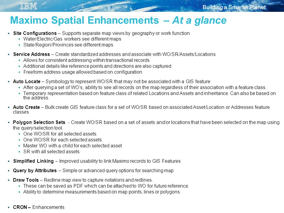 Maximo Spatial Enhancements – At a glance