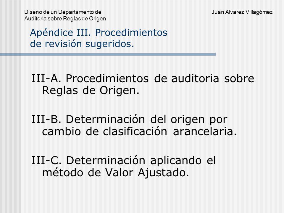Apéndice III. Procedimientos de revisión sugeridos.