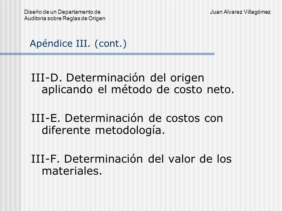 III-D. Determinación del origen aplicando el método de costo neto.